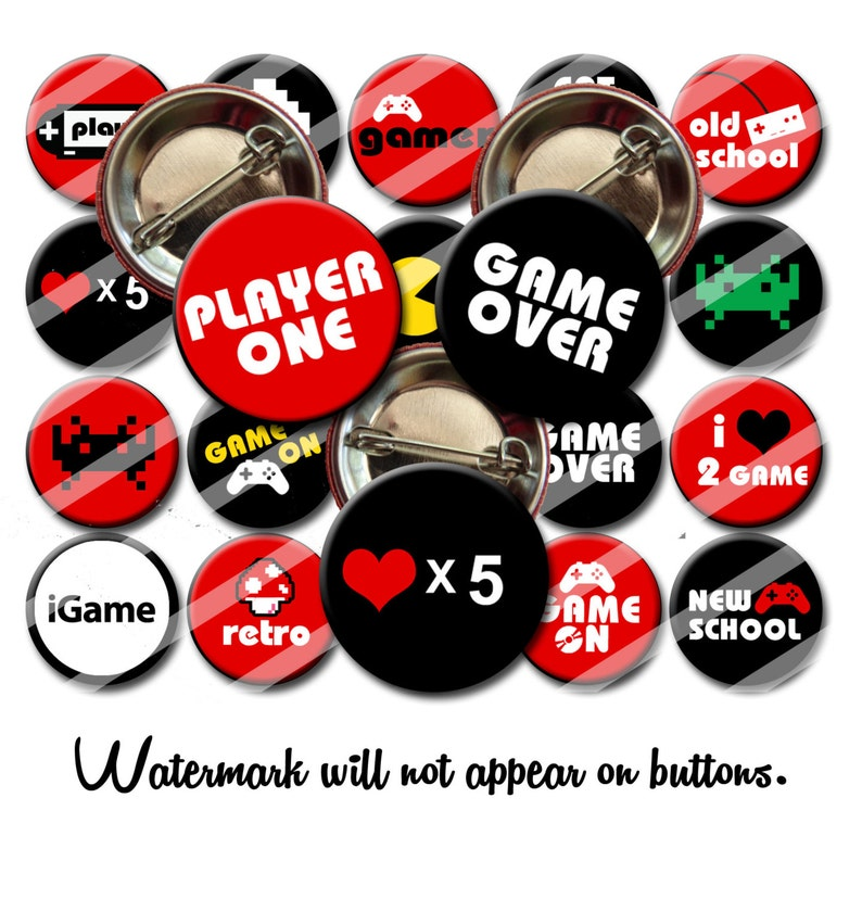 Gamer Video Gamer Pins Video Gamer Gifts 1 25 inch pinback button Party  favors Pins Buttons Badges Magnets
