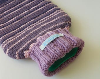 TheCraftyElks: Hand Knitted Hot Water Bottle Cover (Cosy) in Stripe - 100% Merino Wool