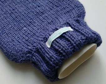 TheCraftyElks: Hand Knitted Hot Water Bottle Cover (Cosy) in Dark Lavender - Wool Blend