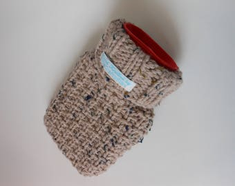 TheCraftyElks: 500 ml Mini Hand Knitted Hot Water Bottle Cover (Cosy) in Flecked Beige (with bottle) - Wool Blend