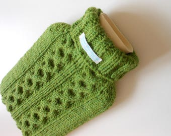 TheCraftyElks: Hand Knitted Hot Water Bottle Cover (Cosy) in Green - Alpaca Yarn