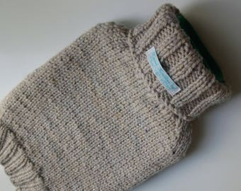 TheCraftyElks: Hand Knitted Hot Water Bottle Cover (Cosy) in Beige - Wool Blend