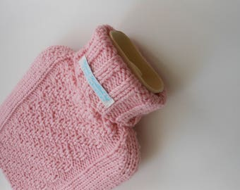 TheCraftyElks: Hand Knitted Hot Water Bottle Cover (Cosy) in Pink - 100% Merino Wool
