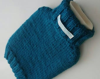 TheCraftyElks: Hand Knitted Hot Water Bottle Cover (Cosy) in Teal - Wool Blend