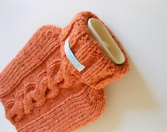 TheCraftyElks: Hand Knitted Hot Water Bottle Cover (Cosy) in Flecked Orange - Wool Blend