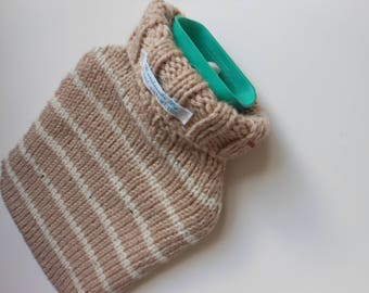 TheCraftyElks: Hand Knitted Hot Water Bottle Cover (Cosy) in Beige Stripe - Wool Blend