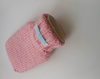 TheCraftyElks: 500 ml Mini Hand Knitted Hot Water Bottle Cover (Cosy) in Pink (with bottle) - 100% Merino Wool