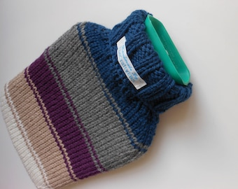 TheCraftyElks: Hand Knitted Hot Water Bottle Cover (Cosy) in Stripe - Wool Blend