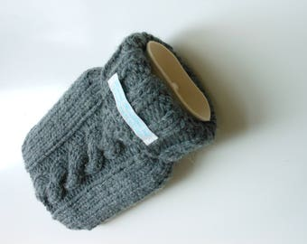 TheCraftyElks: 500 ml Mini Hand Knitted Hot Water Bottle Cover (Cosy) in Grey (with bottle) - Wool Blend