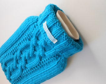 TheCraftyElks: Hand Knitted Hot Water Bottle Cover (Cosy) in Bright Blue - Wool Blend