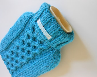 TheCraftyElks: Hand Knitted Hot Water Bottle Cover (Cosy) in Bright Blue - Alpaca Blend