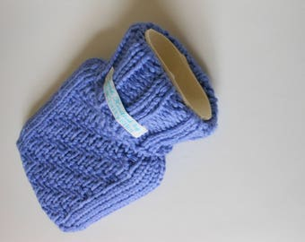TheCraftyElks: 500 ml Mini Hand Knitted Hot Water Bottle Cover (Cosy) in Lavender (with bottle) - 100% Merino Wool