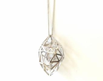 Geometric 3D printed pendant, silver