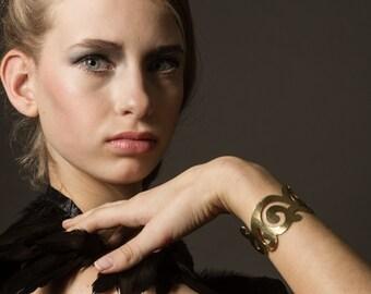 Gold Cuff Bracelet Curls in Glossy Hammered Brass