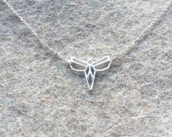 Sterling silver Origami Moth pendant