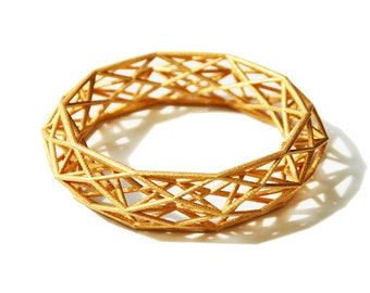3D printed Goldplated Geometric Bracelet Constructionist Sleek