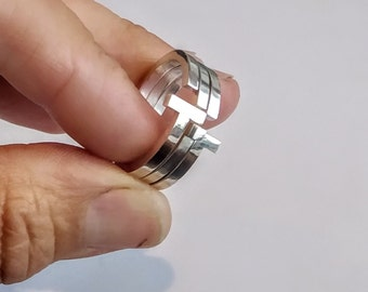 Silver geometric statement ring, unique stack design consisting of 3 rings