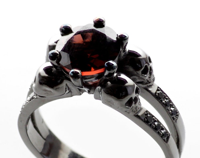 LILITH Black Gold Skull Ring Dark Engagement, Black Diamonds, Memento Mori Morbid Blood Garnet Ring Coloured Gold Non-traditional Wedding