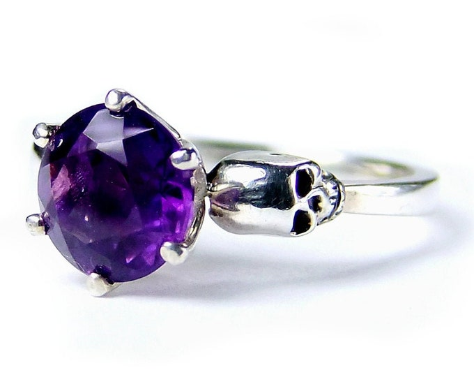 WANDA Silver Skull Ring, Non-traditional Engagement and Mourning, Purple Memento Mori, Pisces Birthstone
