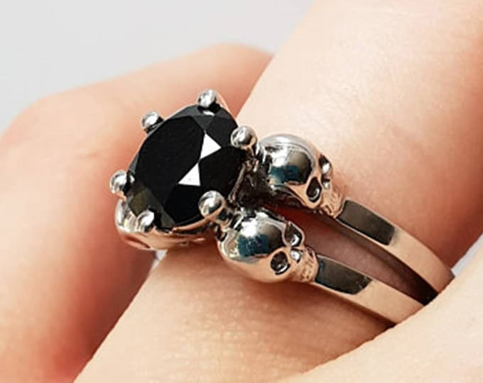LILITH Witchy Wedding Ring, White Gold, Black Diamond Solitarym 2 Carat Weight Diamond, Moissanite or Black Spinel, Gift For Her, Bridal