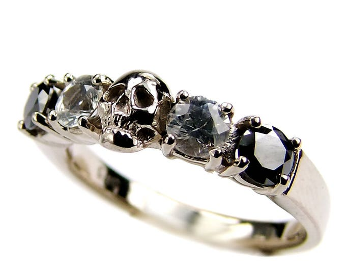 Solid 14K White Gold Skull Wedding Ring, Black Diamonds, White Topaz, White Gold