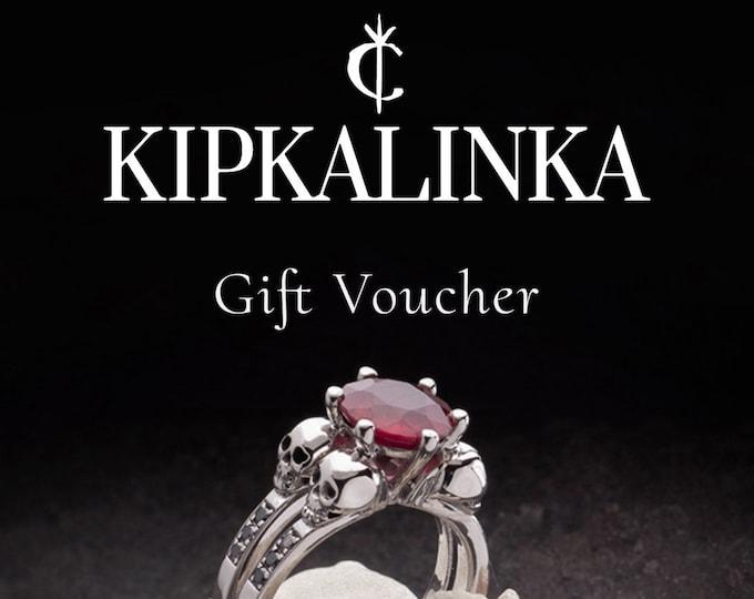 KIPKALINKA Gift Voucher, Gift Certificate, ready to ship, last minute gift, Christmas gift for her, Skull Jewelry, skull ring