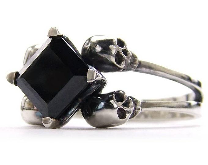 ZORYA Black Skull Engagement Ring, Skull Wedding Band, Square Black Spinel. Memento Mori. Goth Engagement