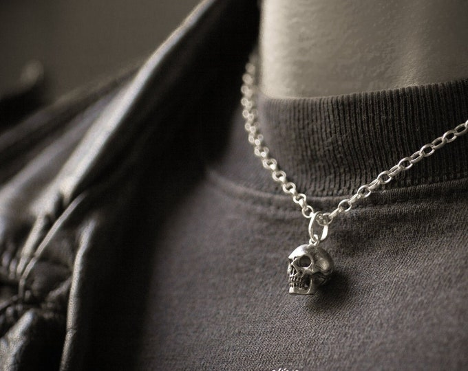 Skull Pendant, Edgy Charm for Men, Memento Mori Necklace, Gift for Him