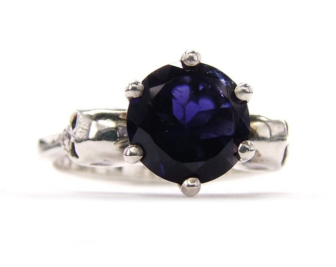 WANDA - Size 6, Skull Engagement Ring, Gift, Sapphire Blue Iolithe, Goth Ring Blue Memento Mori Womens Ring