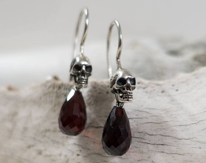 Skull Dangle Earrings Skull Drop Earrings Sterling Silver Goth Earrings with Skull Garnet Blood Drop Dangles Victorian Mourning Earrings