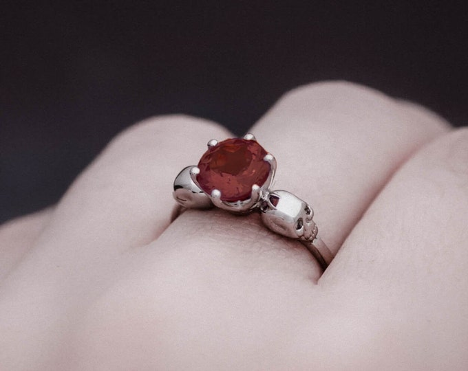 WANDA Skull Ring, Size 7, UK N1/4, Solid White Gold, Unique Goth Engagement, Natural Gem, Memento Mori, Anniversary, Gift For Her, Bridal