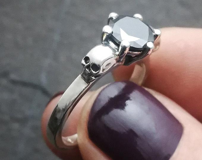 THANA - Size 6.5 / 53 / M - Skull Engagement Ring, Goth Engagement Ring, Natural Gemstone, Women Memento Mori - Ready to Ship