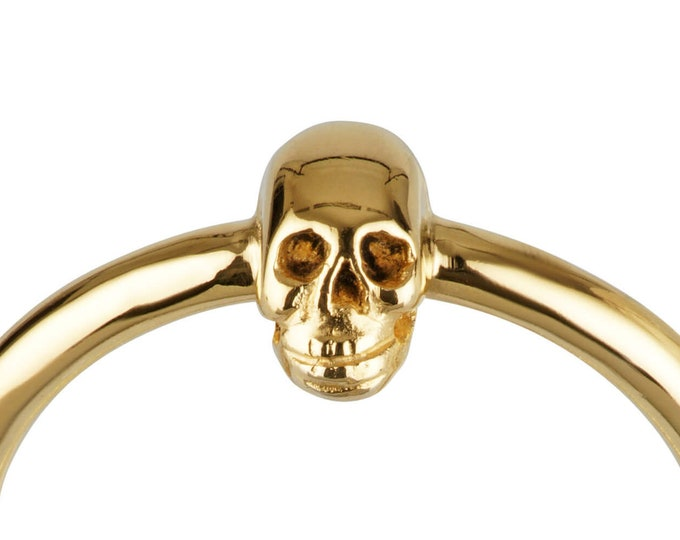Golden Skull Ring, Valentines Gift, Small Gold Plated Ladys Ring, Mini Skull, Memento Mori, Goth Ring All Sizes