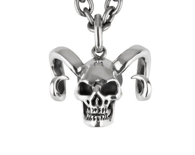 KRAMPUS - Horned Skull Pendant, Krampus, Skull, Biker, Men, Black Metal Style, Heavy Rock, Gift for him, Heavy Rock