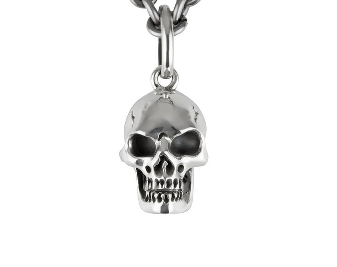 Skull Charm, Edgy Pendant for Men without Chain, Memento Mori Jewelry, massive Sterling, Rock, Goth, Biker, Ready to Ship