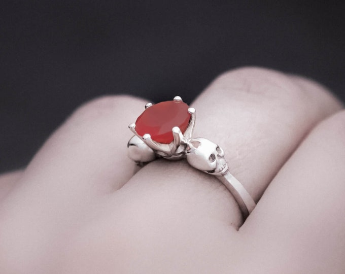 WANDA Skull Ring, Size 6, Orange Carnelian Gemstone, Goth Engagement, Detailed Art Jewelry, Memento Mori, Gift for Women, Promise