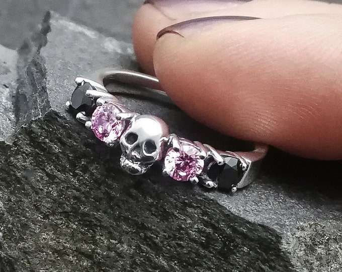 HELICE - Pink and Black CZ - Size 5.5 / 51 / K 1/2 - Skull Wedding Ring - Ready to Ship