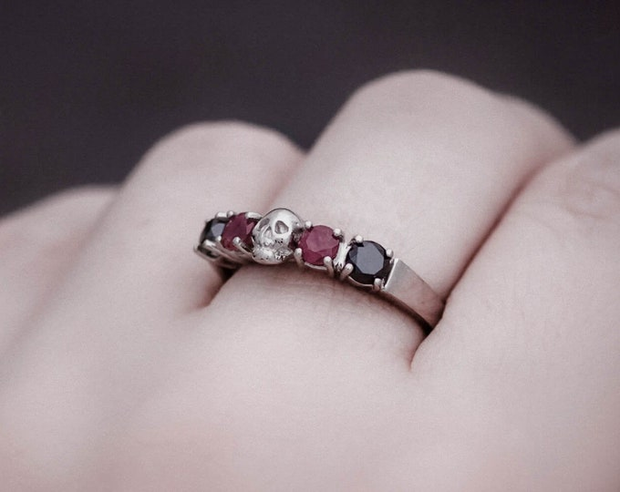 HELICE Skull Ring, Size 6, Black Diamond and Real Red Ruby in Massive 14k White Gold, Goth Wedding Band