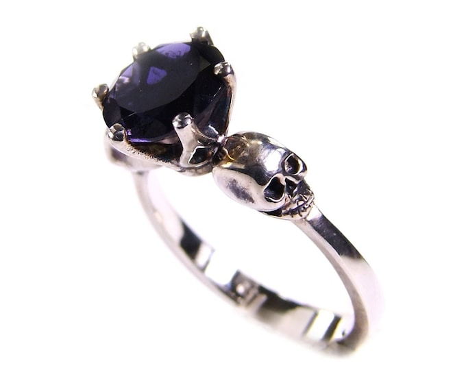 WANDA Skull Goth Engagement Ring, Sapphire Blue Tanzanite Iolithe, Natural Gemstone, Memento Mori