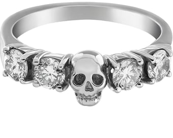 HELICE - White Goth Wedding Ring with Skull and Diamonds