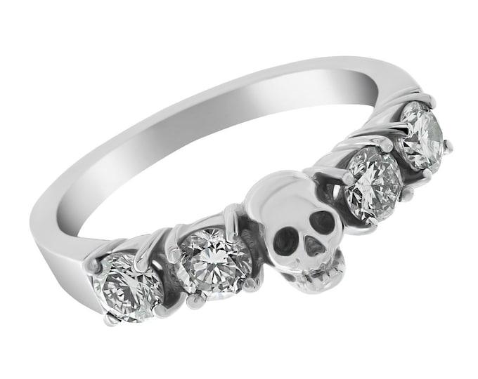 HELICE - White Goth Wedding Ring, Skullring made of Palladium with 0.9ct Natural White Diamonds, White Topaz or White Sapphire