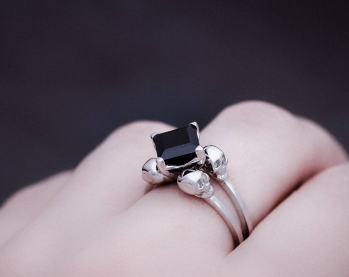 ZORYA Size 6 / UK L Skull Ring with Square Black Spinel, Goth, Memento Mori