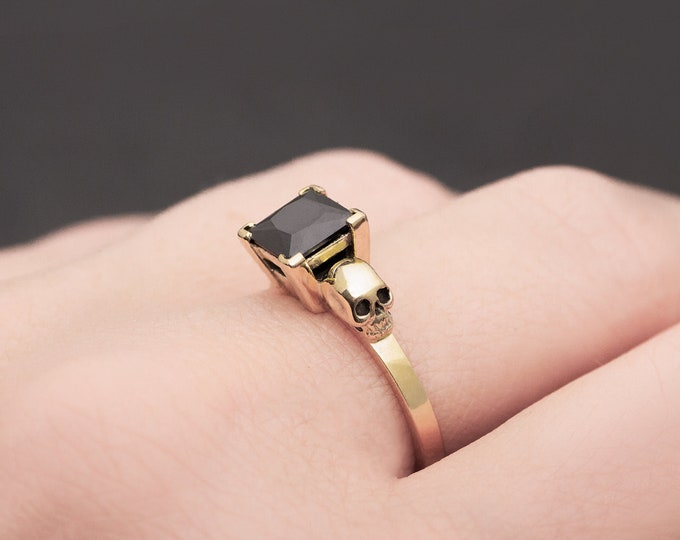 THYONE Gold Skull Ring with Black Spinel, Goth Engagement, Memento Mori, All Sizes, Anniversary, Gift For Her, Bridal