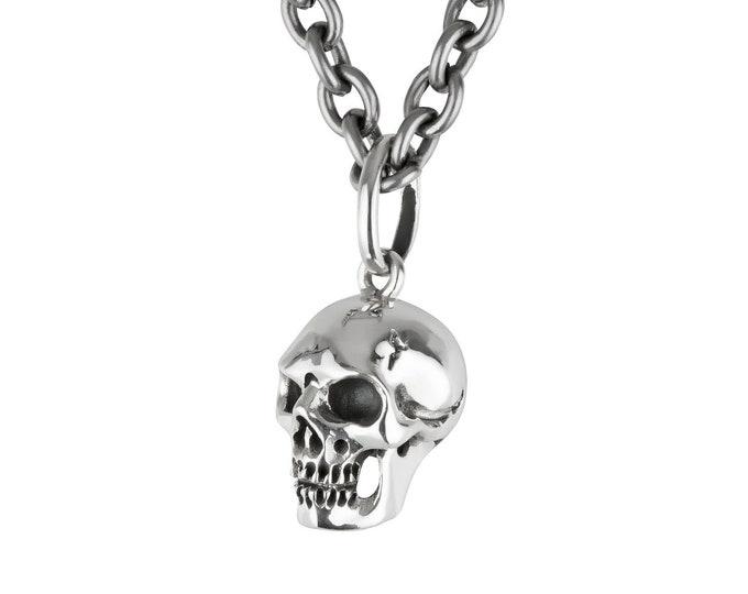 Skull Necklace, Long Steel Chain, Goth Skull Pendant, Memento Mori, Rocker