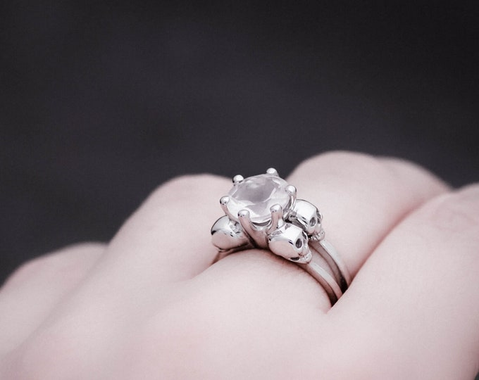VARLA - Size 7, Skull Ring, white CZ, Goth Engagement, Clear Natural Stone, Psychobilly, Anniversary, Gift For Her, Bridal
