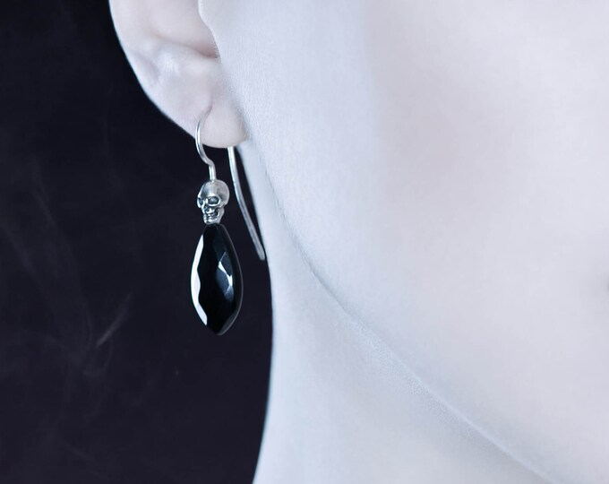 BEHEMOTH - Skull Earrings with Black Gemstone, Sterling Gothic Bridal Dangles, Memento Mori - Ready to Ship