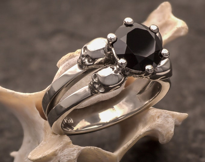 LILITH Memento Mori Ring, Dark Goddess Ornament, 2ct Solitary Gemstone and Platinum Ring, Choose Black Diamond or Black Spinel, Anniversary