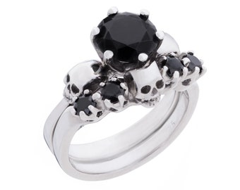 Skull Wedding Ring Set WANDA - All Sizes