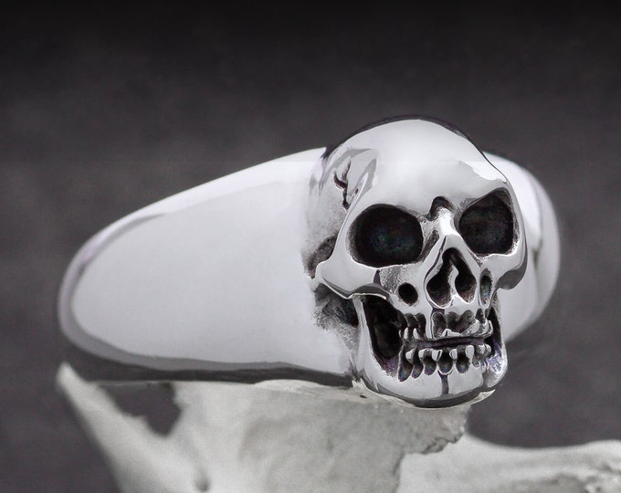 BEHEMOTH - Size 12, Large Skull Ring in Sterling Silver, Massive Men Ring, Biker, Rocker, Goth, UK Z