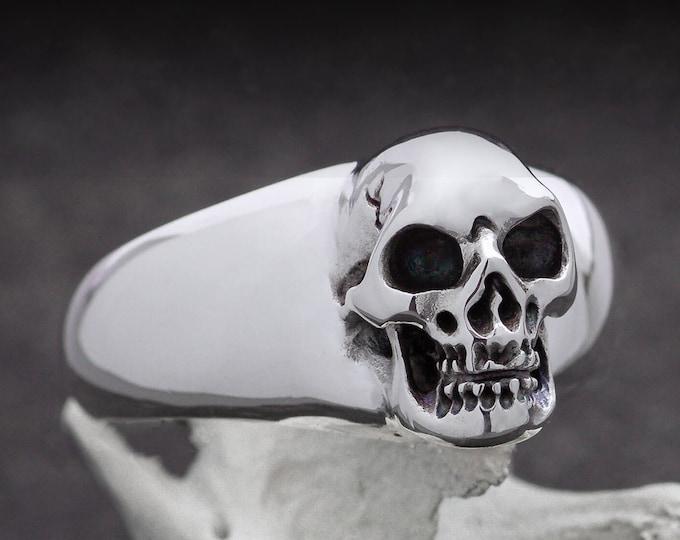 Large Skull Ring in Sterling Silver, Massive Men Ring, Biker, Rocker, Goth, Size 12